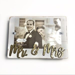 FRANCESCAS Mr & Mrs Wood Block Frame Rustic White
